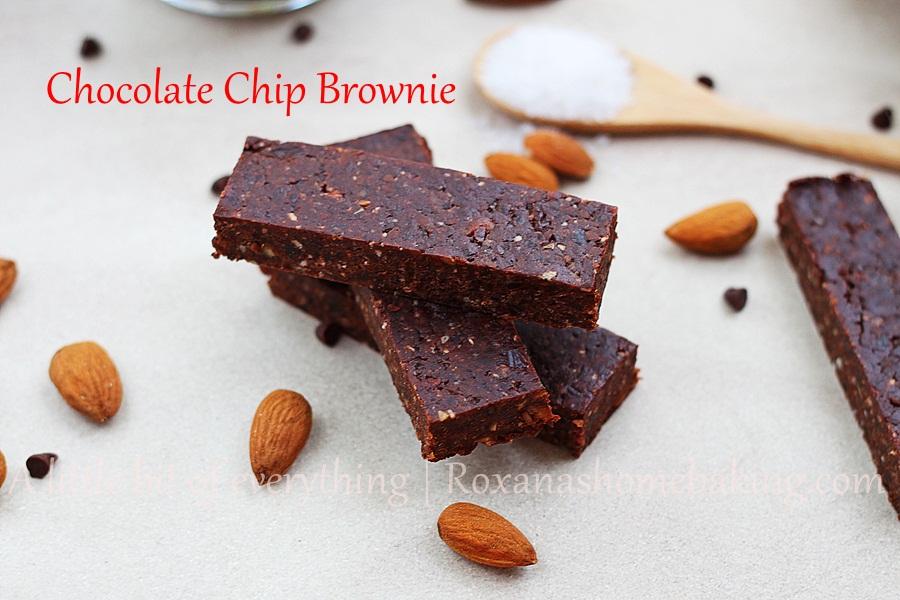 Homemade Chocolate Chip Brownie Energy Bars