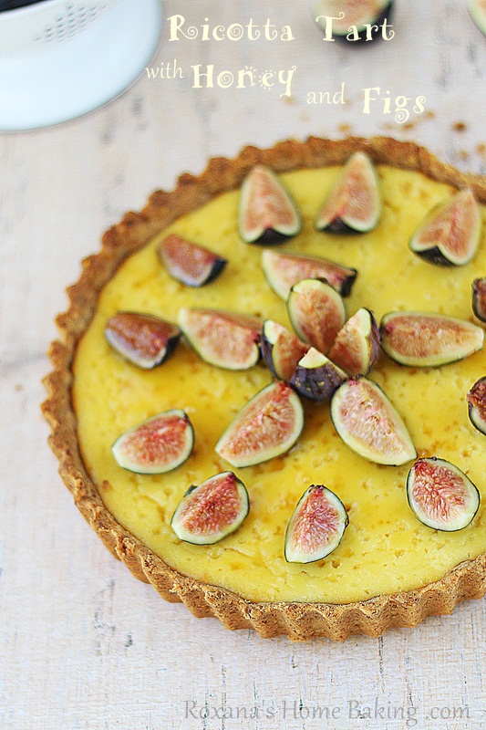 Ricotta tart with honey and fresh figs - A creamy, sweet ricotta tart brushed with honey and decorated with flagrant fresh figs Recipe from Roxanashomebaking.com
