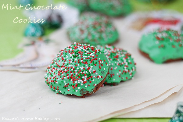 Mint chocolate kisses muffin-top cookies