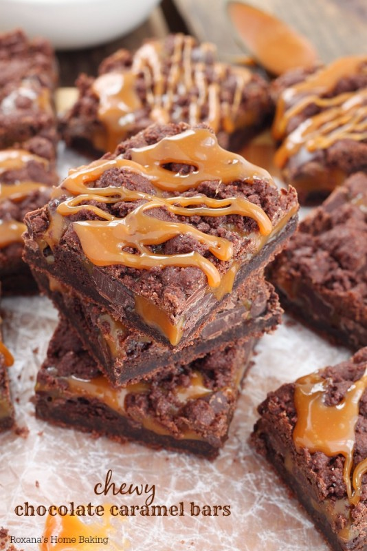 Chewy chocolate caramel bars recipe 1