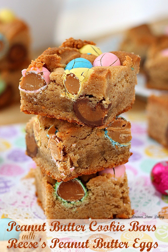 Peanut butter cookie bars with Reese's peanut butter eggs
