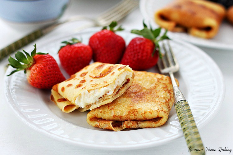 Ricotta and orange blintzes