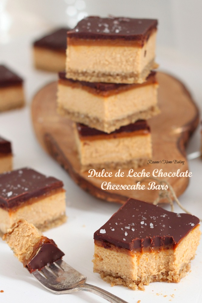 Dulce de leche chocolate cheesecake bars from Roxanashomebaking.com ...