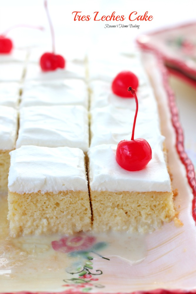 Tres leches cake is a sponge cake soaked in three types of milk and topped with whipped cream, this simple, easy and perhaps the moistest cake you'll ever have had, has a unique flavor you cannot find in any other cakes.