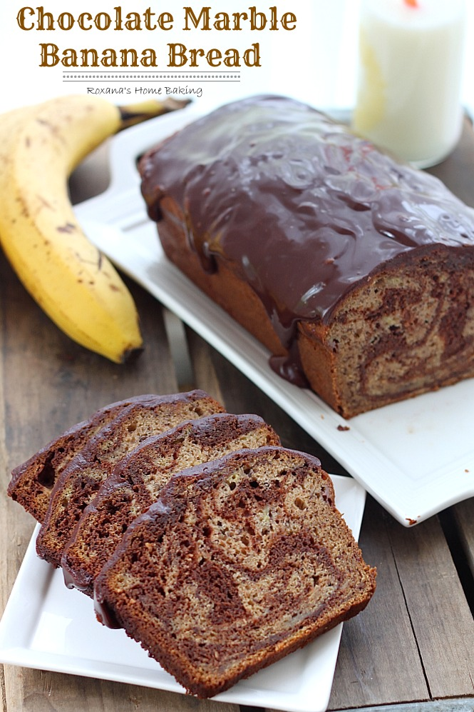Chocolate Marble Banana Bread from Roxanashomebaking.com Rich semi-sweet chocolate swirled into a moist and delicious banana bread with a touch of cinnamon to bring out all the wonderful flavors