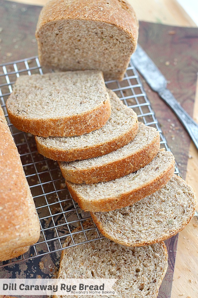 Light and airy, with a soft crust and filled with caraway and dill seeds, this egg free rye bread is just what you need to make delicious deli sandwiches. Recipe from Roxanashomebaking.com