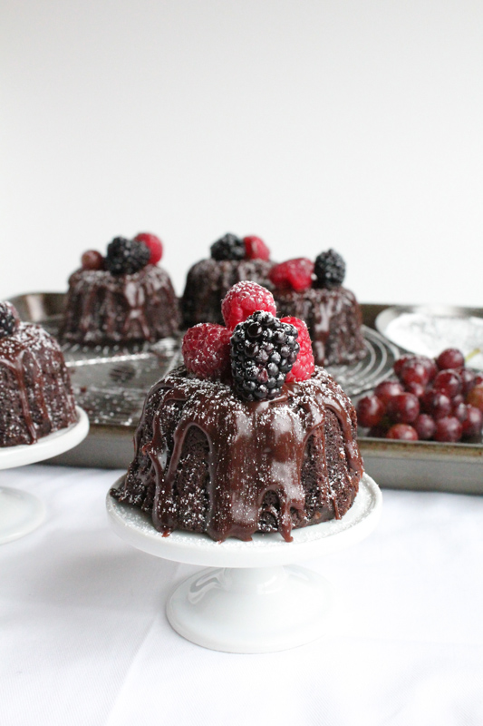 Mini Chocolate Bundt Cakes