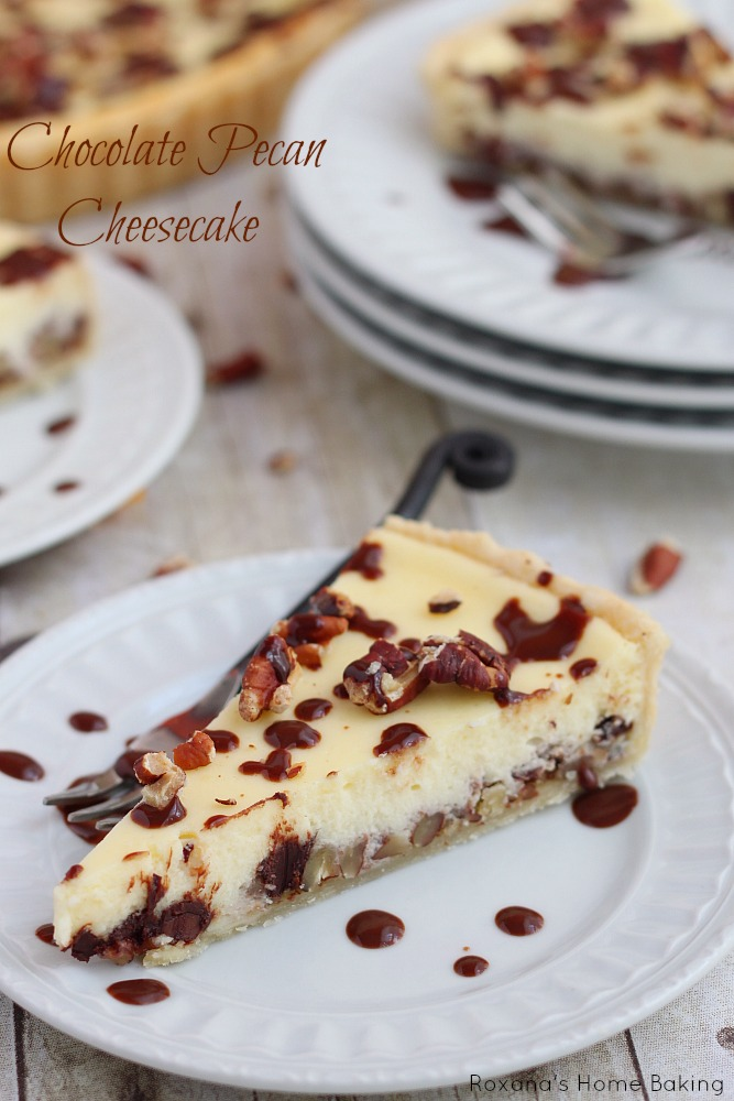 Silky cheesecake featuring two layers of chopped pecans and chocolate chips will be the centerpiece of your holiday table!