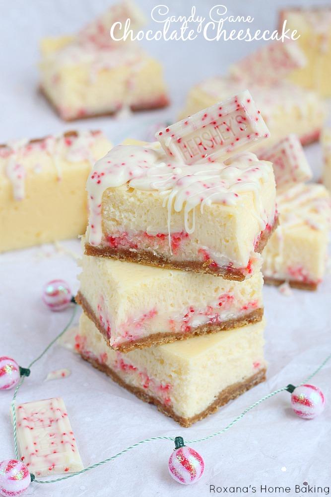 Candy cane chocolate cheesecake bars