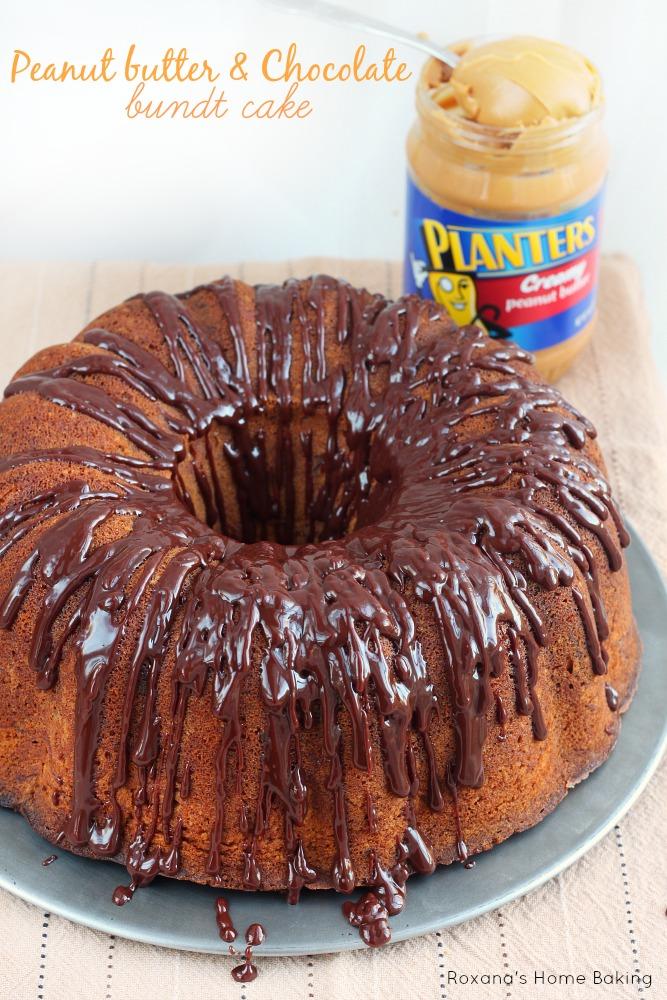 Peanut butter chocolate bundt cake recipe from Roxanashomebaking.com