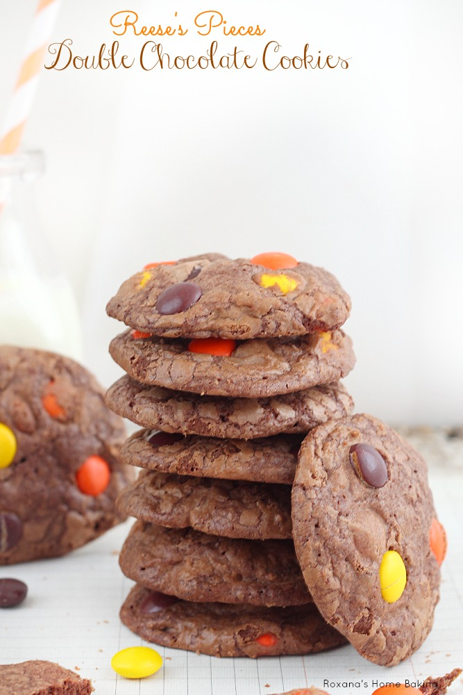 Crispy chewy brownie in a cookie form. Double chocolate cookies packed with Reese's pieces