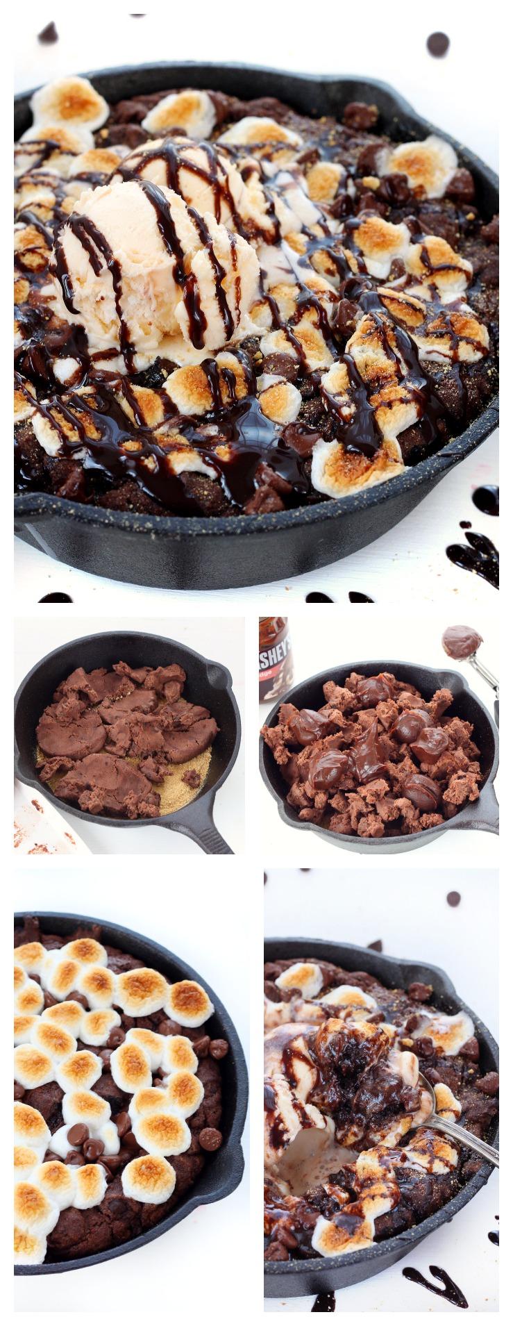 Triple chocolate smores pizookie