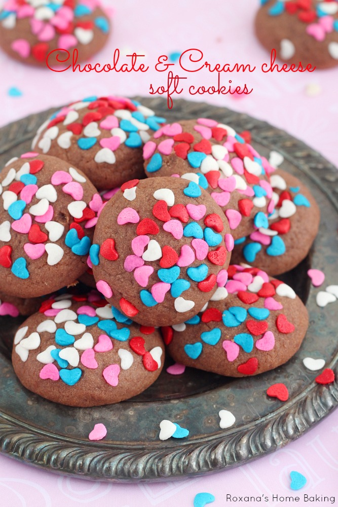 Soft cream cheese cookies with just a touch of chocolate. Cover in Valentine's day sprinkles for a sweet treat to give to your loved one(s).