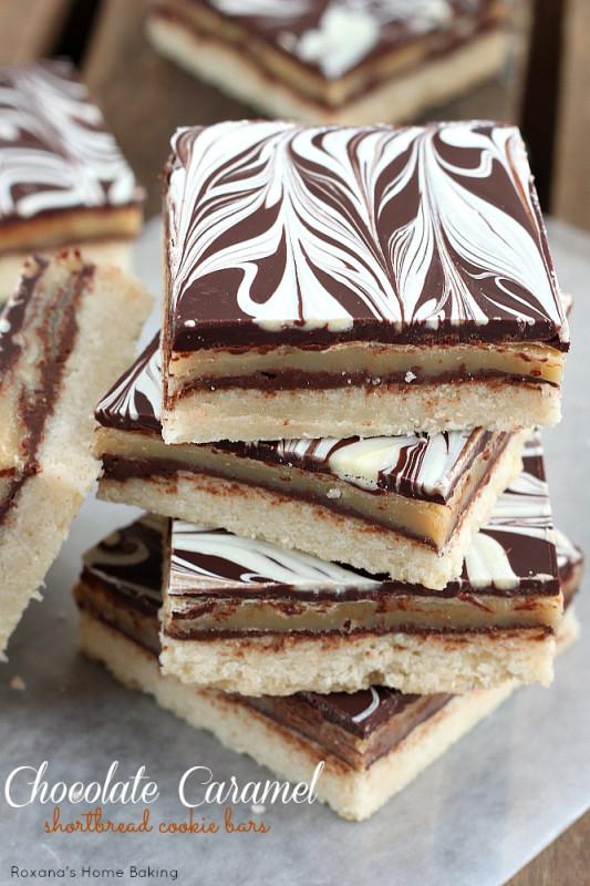 chocolate caramel shortbread cookie bars recipe 2