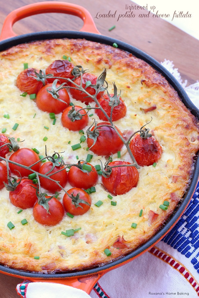 All my favorite baked potato fixings in this quick and easy baked potato and cheese frittata, now with half the calories as regular frittata!