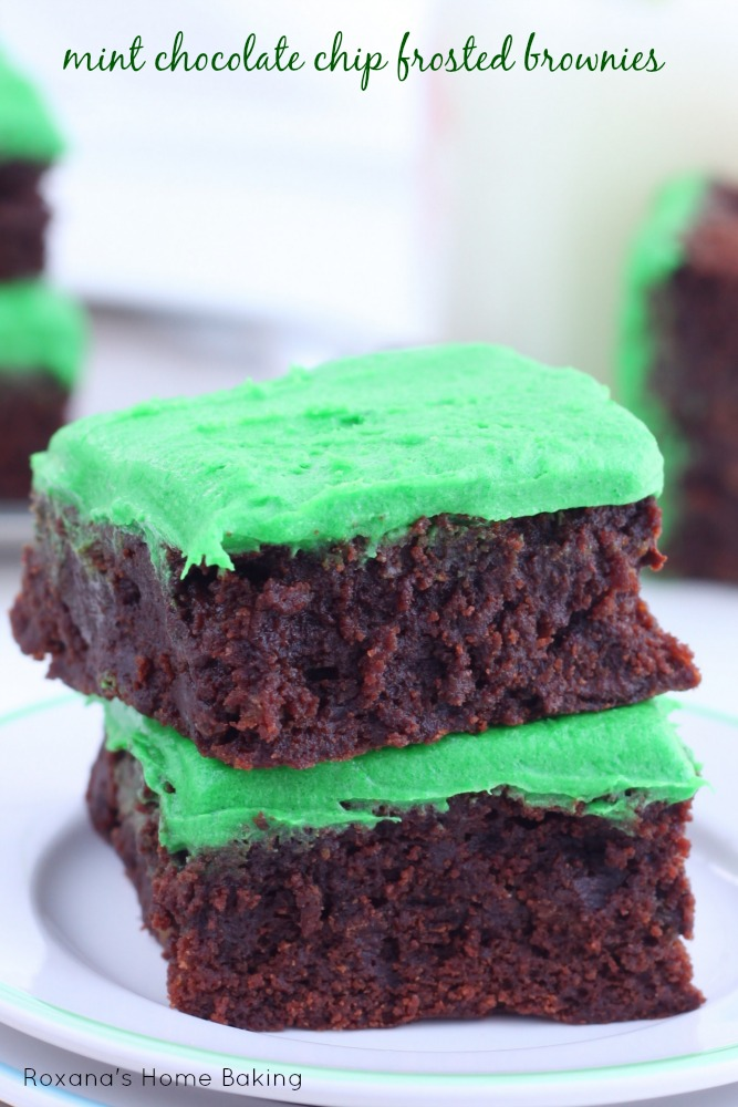 Mint chocolate chip frosted brownies recipe