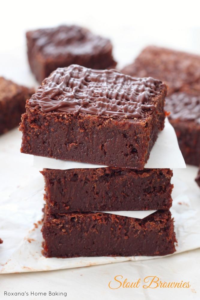 Fudgy Guinness stout chocolate brownies recipe from Roxanashomebaking.com