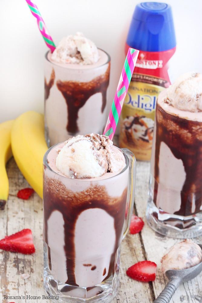 Strawberry banana split milkshake