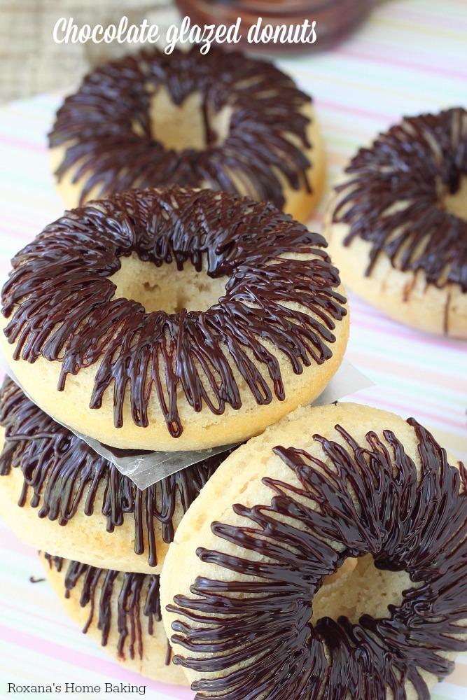 Chocolate glazed baked donuts. Recipe from Roxanashomebaking.com