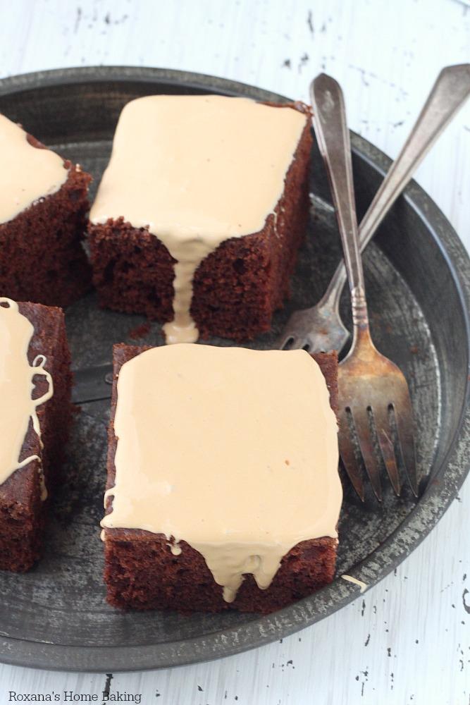 Chocolate caramel cake recipe from Roxanashomebaking.com
