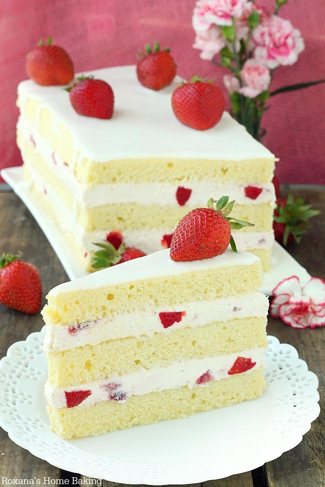 Strawberry shortcake cake recipe from Roxanashomebaking.com