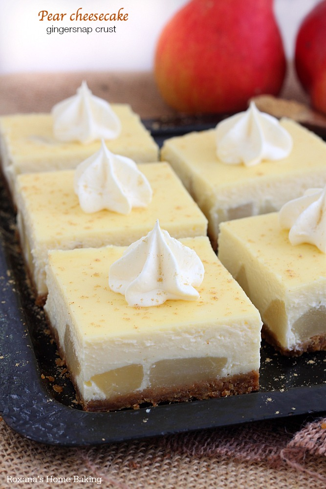 Pear cheesecake with gingersnap crust from Roxanashomebaking.com