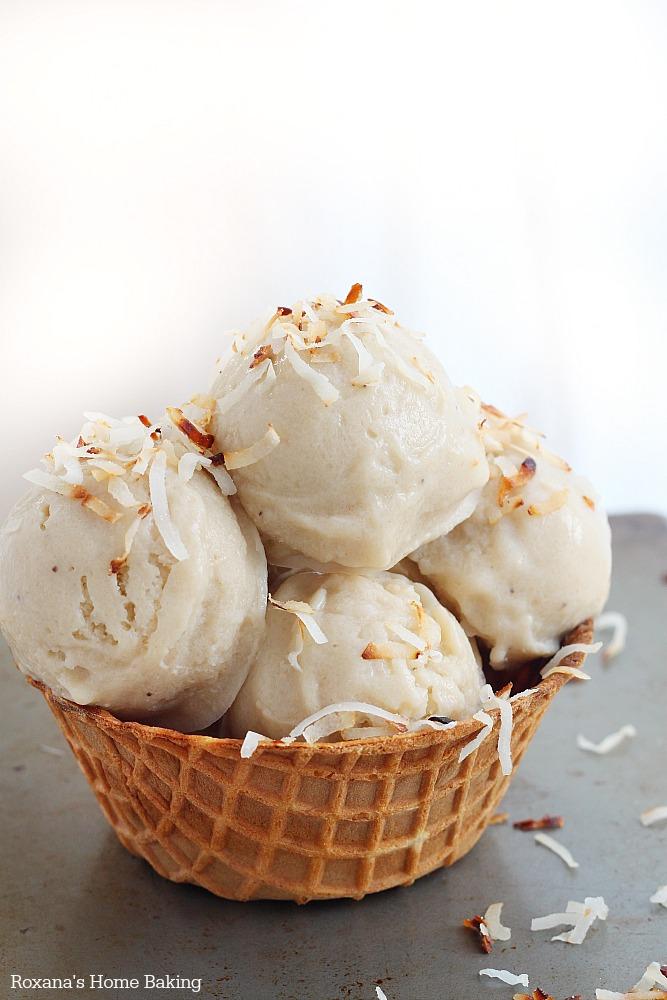 The ultimate guilt-free frozen ice cream made with only two ingredients - roasted bananas and coconut milk!!