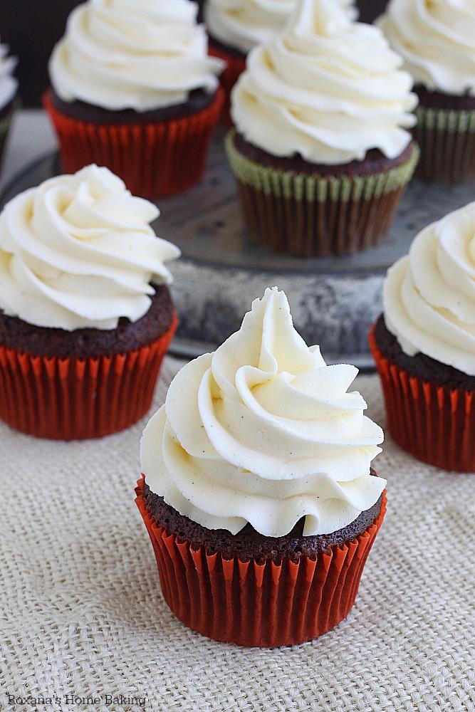 Chocolate cupcakes with vanilla bean buttercream recipe from Roxanashomebaking.com