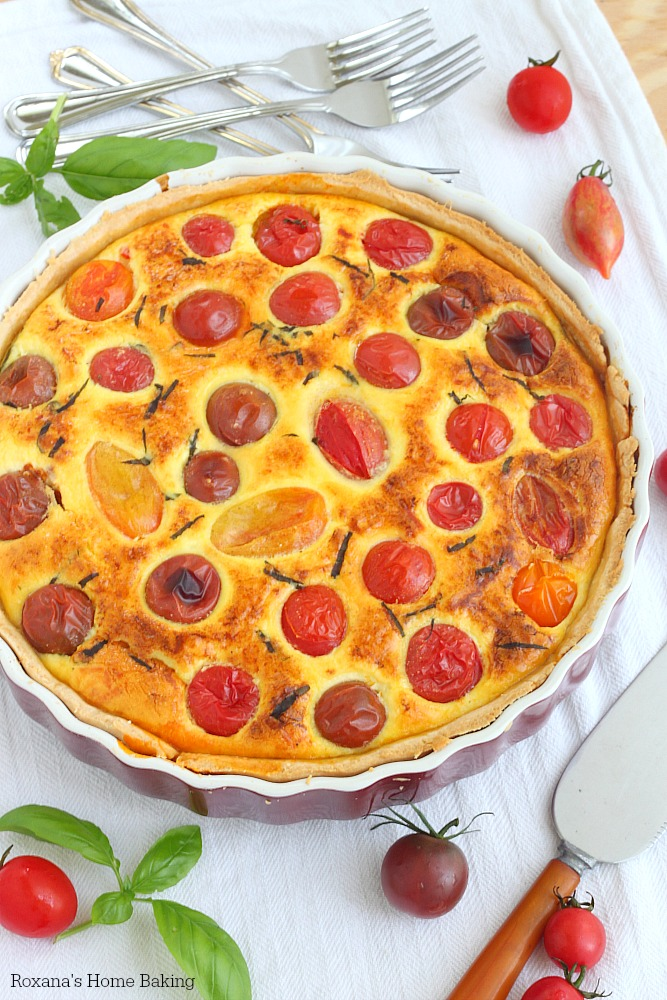 Cherry tomato quiche recipe from Roxanashomebaking.com