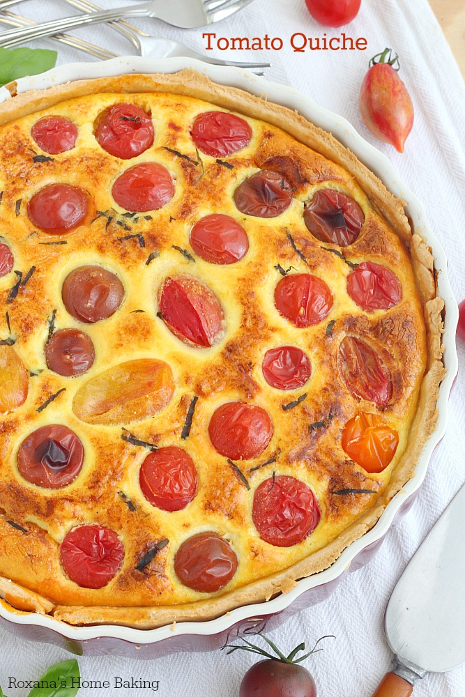 Chock-full of tomatoes, creamy ricotta cheese, grated Parmesan and fresh basil this flagrant and flavorful tomato quiche is perfect for breakfast, lunch or dinner.