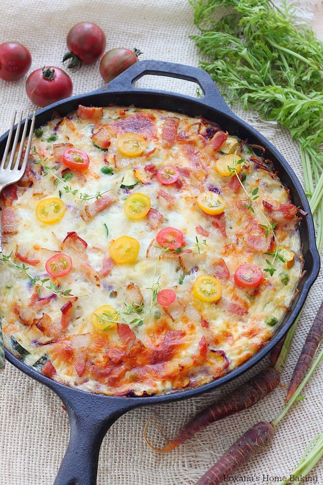 Make-ahead vegetable and bacon egg bake skillet