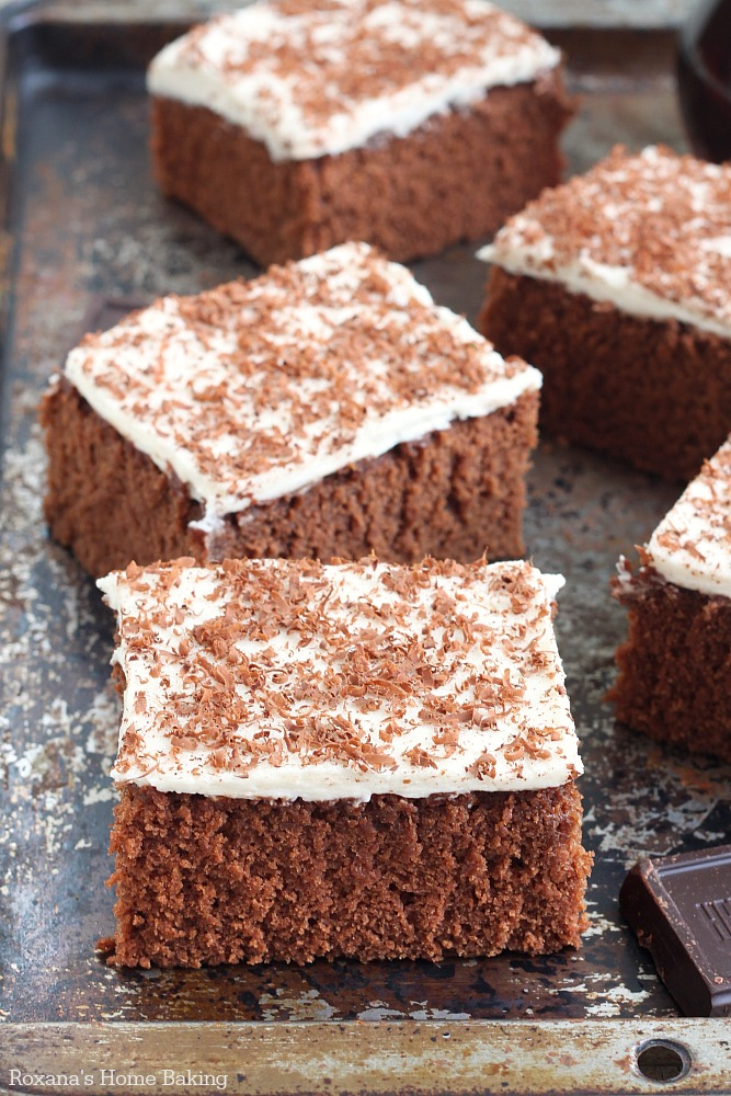 Chocolate cake with coffee frosting recipe from Roxanashomebaking.com