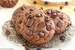 Soft and chewy triple chocolate fudge cookies