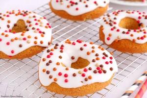 Iced pumpkin donuts