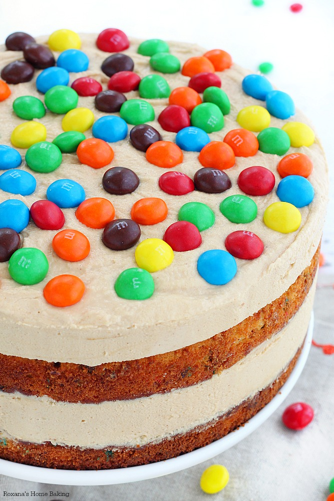 M&M'S peanut butter cake with peanut butter frosting recipe 1