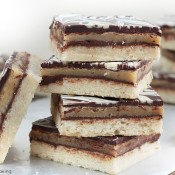 Chocolate caramel shortbread cookie bars